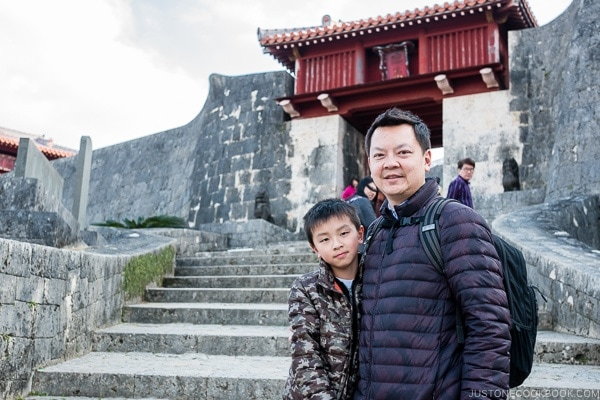 Just One Cookbook family on the steps at Shuri Castle - Okinawa Travel Guide | justonecookbook.com
