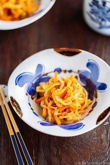 Simmered Kiriboshi Daikon on a beautiful Japanese blue and white bowl.