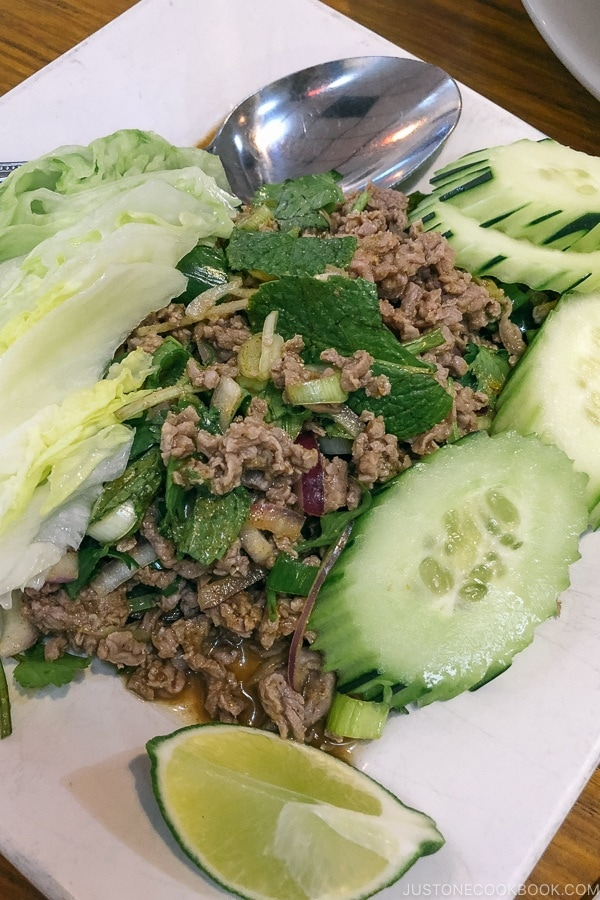 Larb at Champa Garden Restaurant - Redding California Travel Guide | justonecookbook.com