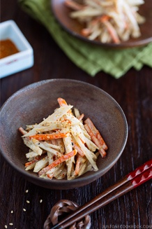 Gobo Salad (Burdock Root & Carrot Salad with Sesame Dressing) in Japanese bizen ceramic bowl.
