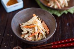 Gobo Salad (Burdock Root & Carrot Salad with Sesame Dressing) in Japanese bizen ceramic bowl.