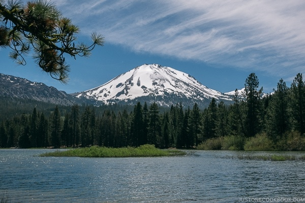 A lake and Lassen Volcanic National Park prospect peak in the background