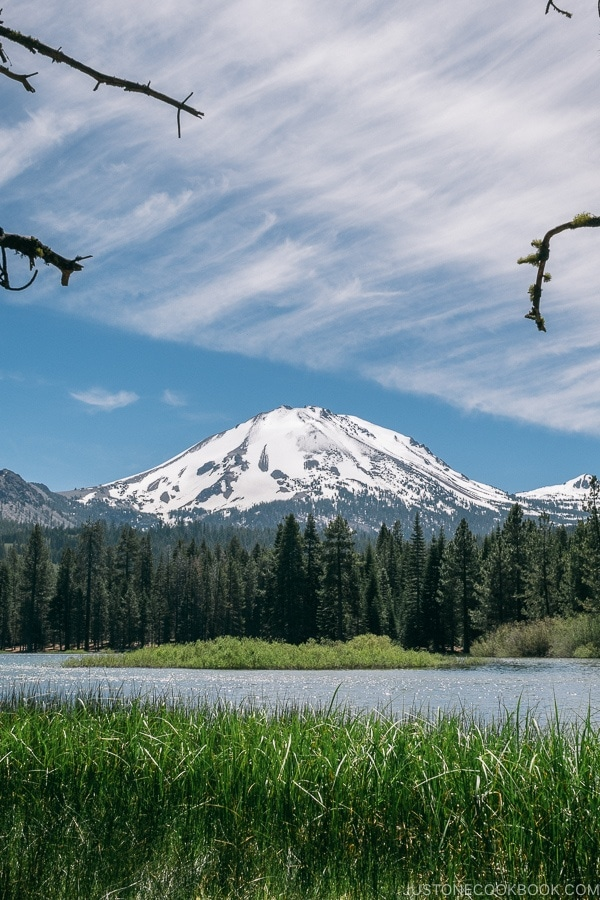 view of Lassen Peak - Lassen Volcanic National Park Travel Guide | justonecookbook.com
