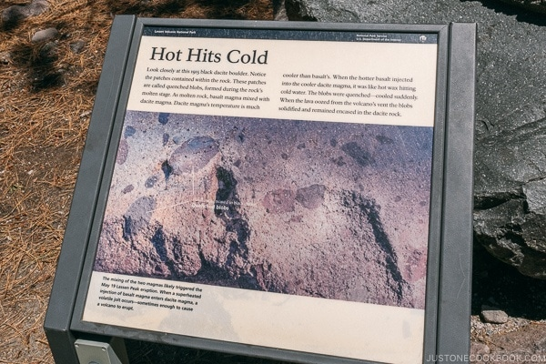 sign explaining quenched blobs lava rock - Lassen Volcanic National Park Travel Guide | justonecookbook.com