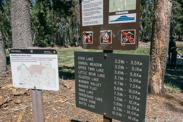 Trail sign at Summit Lake - Lassen Volcanic National Park Travel Guide | justonecookbook.com