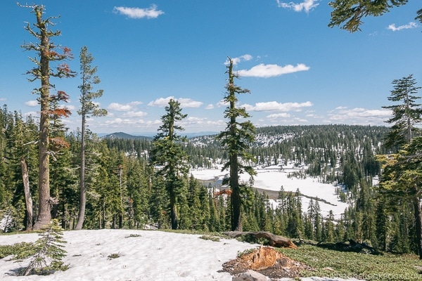 snow capped mountain - Lassen Volcanic National Park Travel Guide | justonecookbook.com