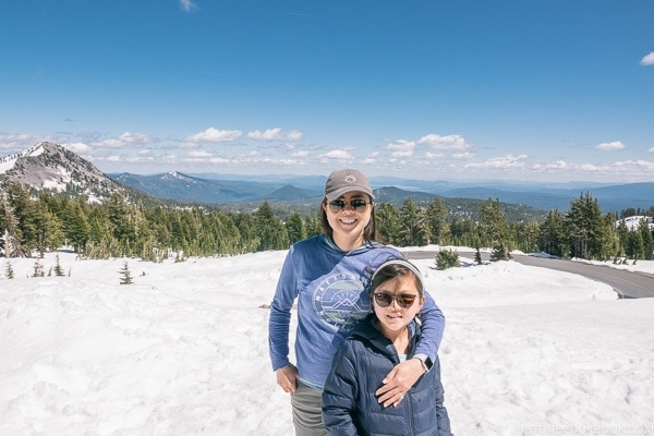 Nami and child on snow near Kings Creek - Lassen Volcanic National Park Travel Guide | justonecookbook.com