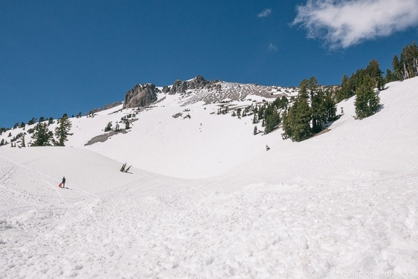 snow at Lassen Peak Trailhead - Lassen Volcanic National Park Travel Guide | justonecookbook.com