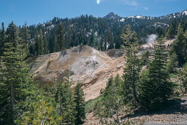 fumarole near Sulphur Work mud pots - Lassen Volcanic National Park Travel Guide | justonecookbook.com