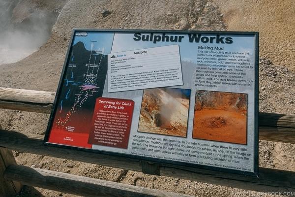 Sulphur Work mud pots sign - Lassen Volcanic National Park Travel Guide | justonecookbook.com