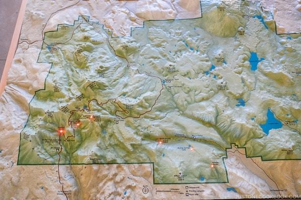 3D model of Lassen Volcanic National Park inside Kohm Yah-mah-nee Visitor Center - Lassen Volcanic National Park Travel Guide | justonecookbook.com