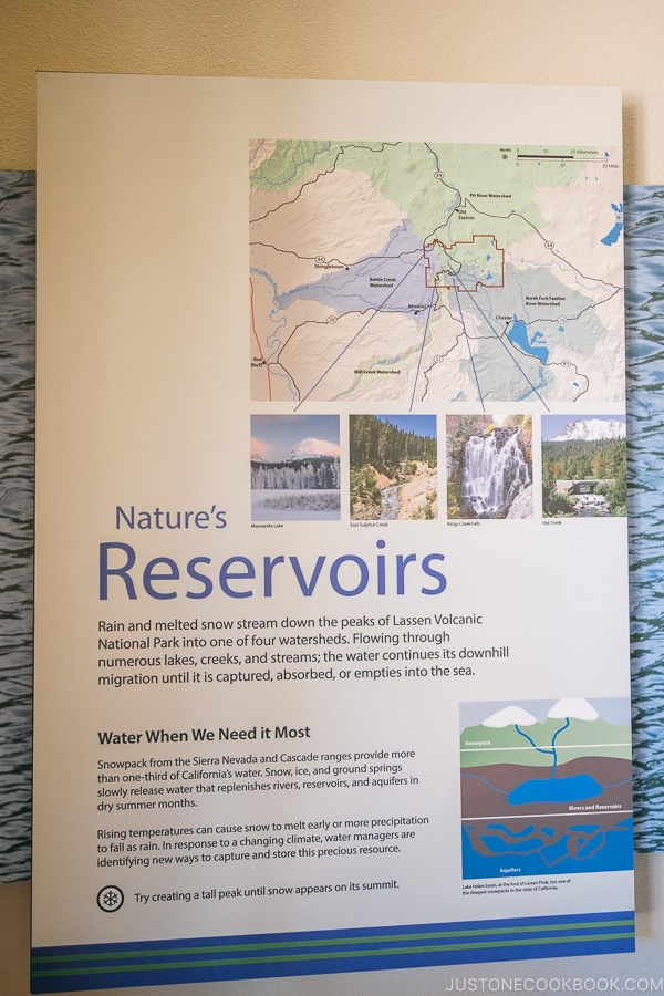 Nature's Reservoirs exhibit at Kohm Yah-mah-nee Visitor Center - Lassen Volcanic National Park Travel Guide | justonecookbook.com