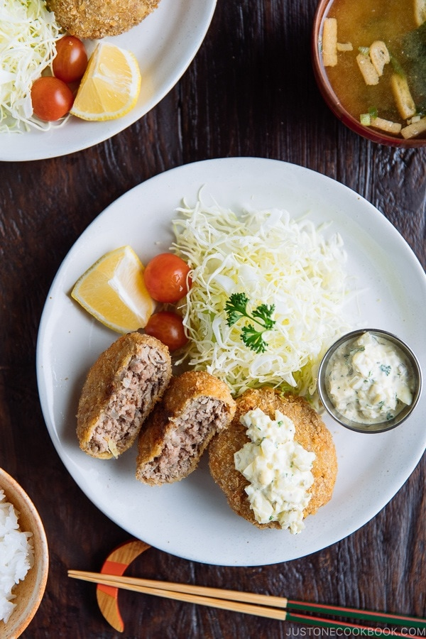 Menchi Katsu (Ground Meat Cutlet) served with homemade tartar sauce.