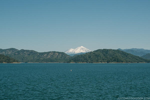 view of Mt Shasta from Shasta Dam - Redding California Travel Guide | justonecookbook.com