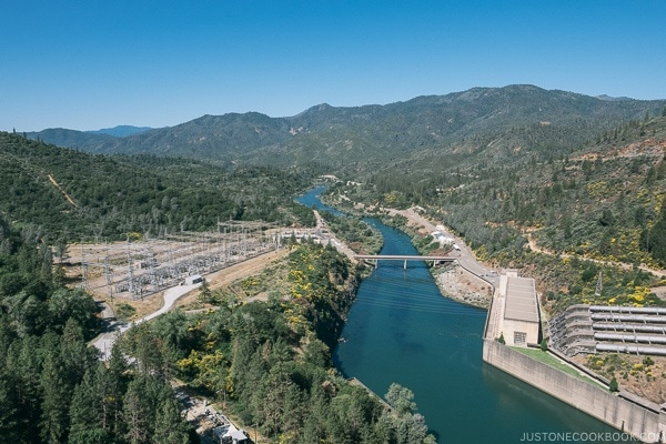 Looking downstream from Shasta Dam - Redding California Travel Guide | justonecookbook.com