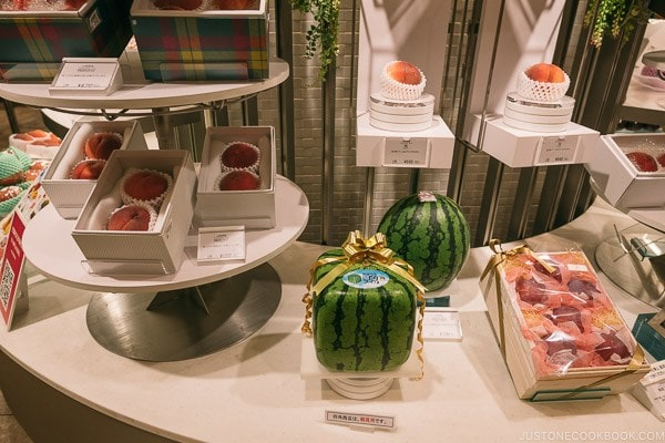 square watermelon at Shinjuku Isetan Food Floor - Shinjuku Travel Guide | justonecookbook.com