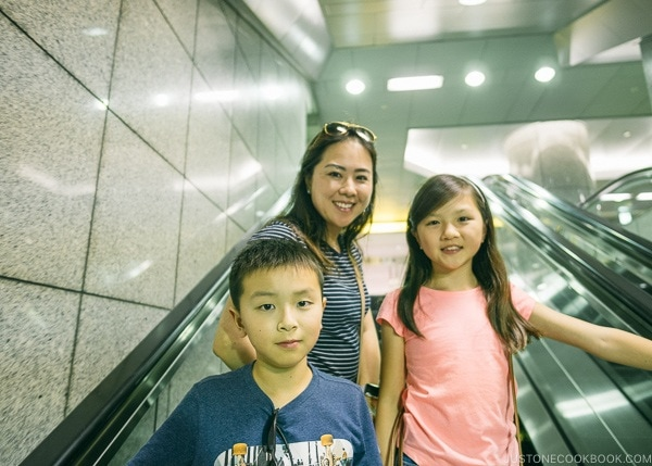 Just One Cookbook family on escalator in Shinjuku Station - Shinjuku Travel Guide | justonecookbook.com