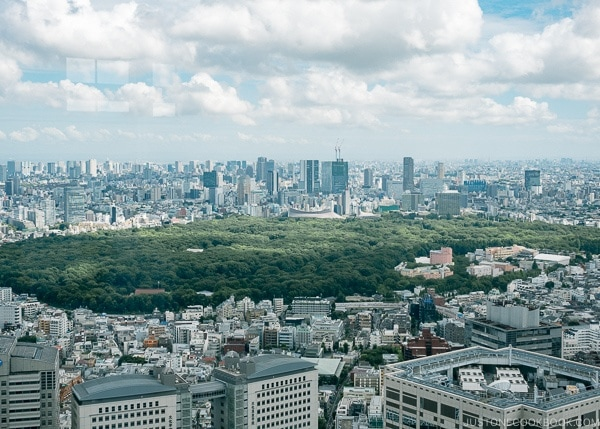 view of Tokyo skyline and park from Tokyo Metropolitan Government Building - Shinjuku Travel Guide | justonecookbook.com