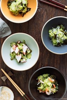 Sunomono (Japanese Cucumber Salad) 4 ways (classic, octopus, baby anchovies, or crab).