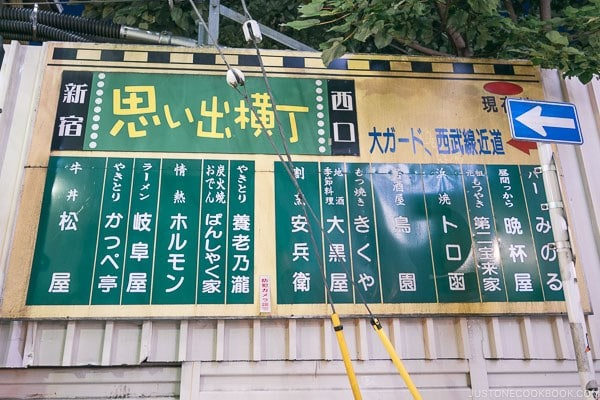 sign for Yakitori alley Memory Lane Shinjuku - Shinjuku Travel Guide | justonecookbook.com