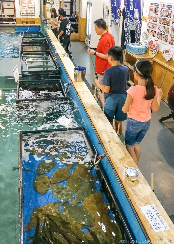 Live seafood tanks at Zauo Shinjuku - Shinjuku Travel Guide | justonecookbook.com