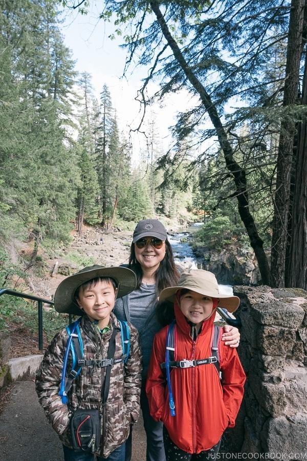 Just One Cookbook family at Lower Falls McCloud River - Mount Shasta Travel Guide   justonecookbook.com