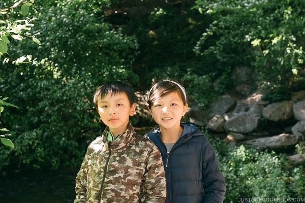 Just One Cookbook children at Headwaters Spring Mt. Shasta City Park - Mount Shasta Travel Guide   justonecookbook.com