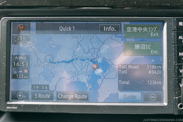route information car navigation screen - Guide to Driving in Japan | www.justonecookbook.com