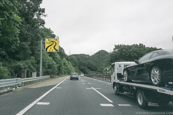 sharp curve warning freeway sign - Guide to Driving in Japan | www.justonecookbook.com