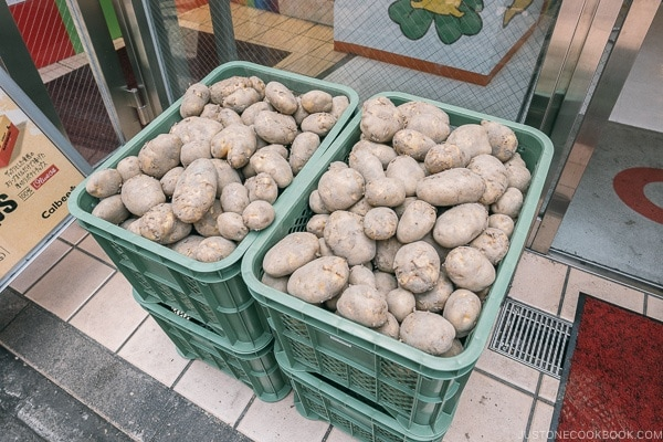 potatoes in front of Calbee+ - Harajuku Travel Guide | www.justonecookbook.com