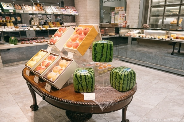 square watermelon fruit shop inside Tokyo Midtown - Tokyo Roppongi Travel Guide | www.justonecookbook.com