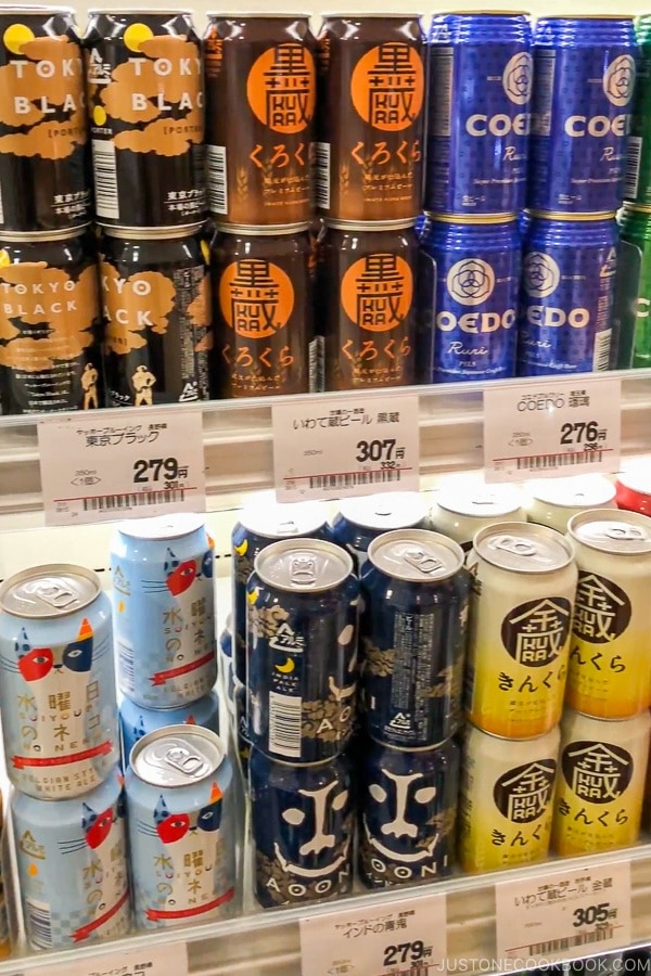 Japanese beer in Japanese Supermarket - Guide for Japanese Beer | www.justonecookbook.com
