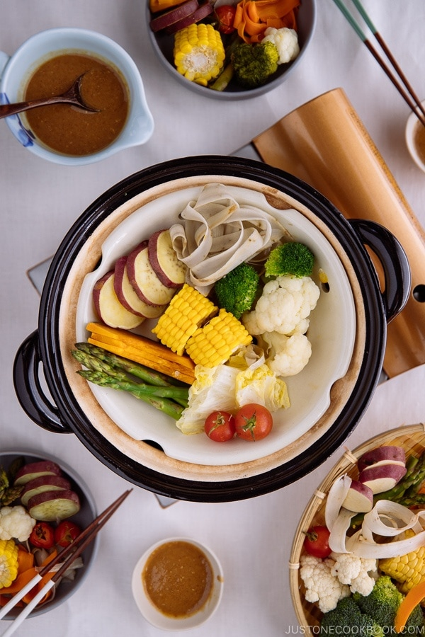 Steamed vegetables in a Japanese earthenware pot, donabe.