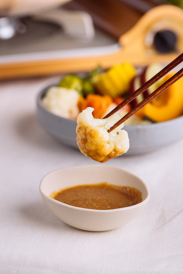 Steamed cauliflower dipped in miso sesame sauce.