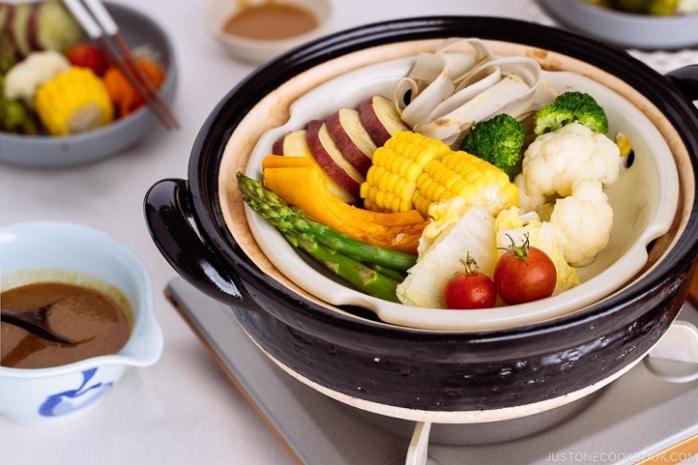 steamed vegetables with miso sesame sauce ae c e e a e eo a a a a