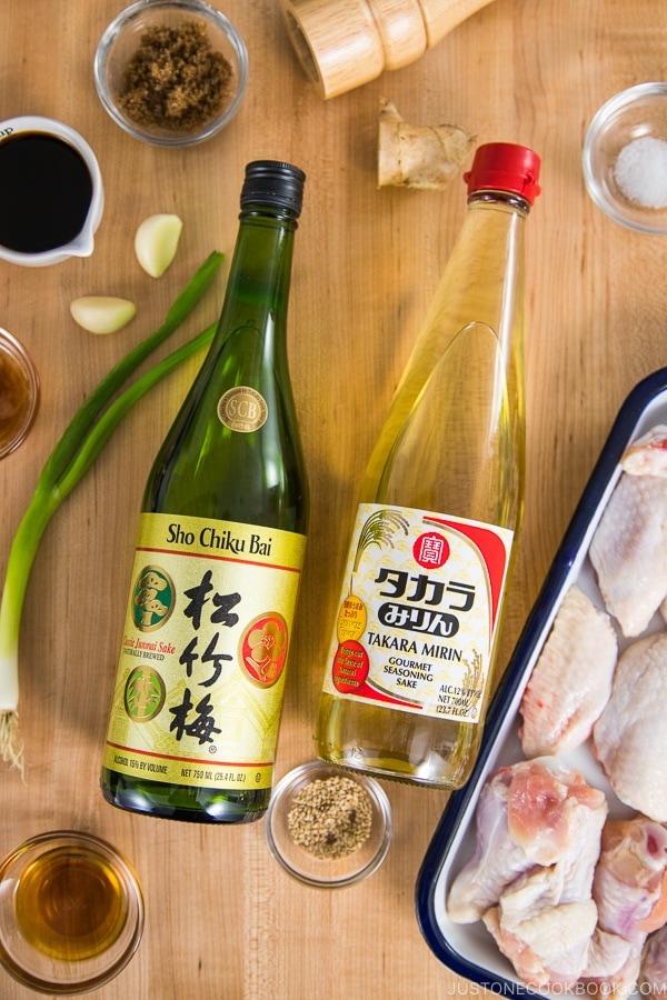 Takara Sake Sho Shiku Bai and Takara Mirin bottles