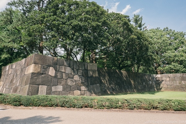 stone protective wall - The East Gardens of the Imperial Palace Guide | www.justonecookbook.com