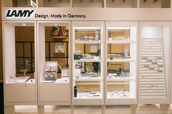 LAMY display inside G.Itoya Ginza - Tokyo Ginza Travel Guide | www.justonecookbook.com