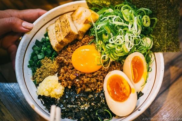 mazesoba at Menya Haruka - Akihabara Travel Guide | www.justonecookbook.com