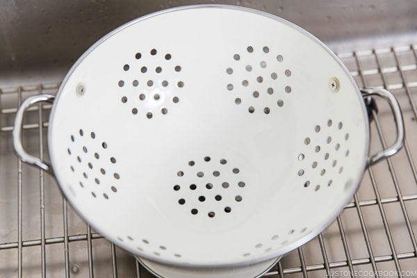 Colander in the sink