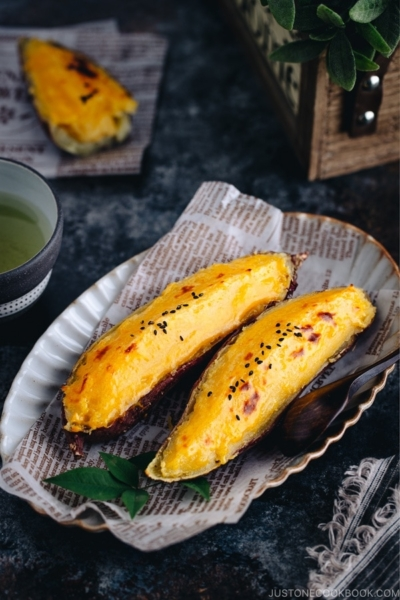 Creamy and silky Japanese sweet potato puree encased in the sweet potato shell baked to perfection.