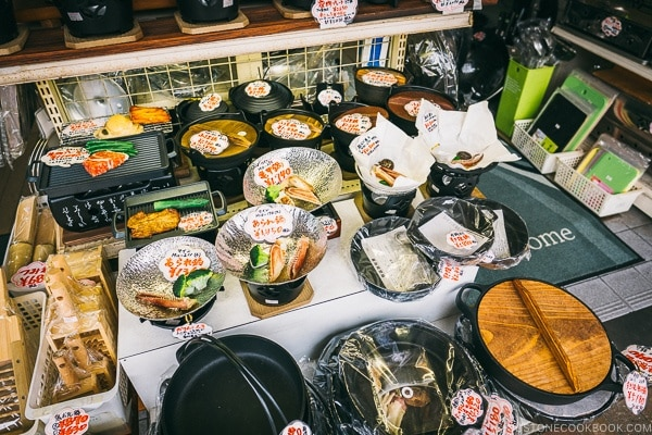 different grills and hot pot pans at restaurant supply store - Tokyo Kappabashi Guide | www.justonecookbook.com