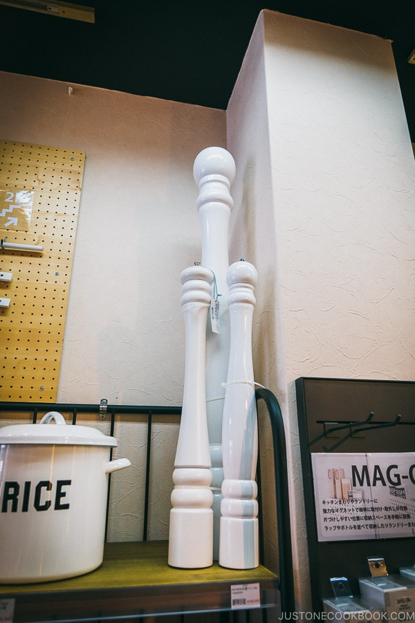 white extra long pepper grinders - Tokyo Kappabashi Guide | www.justonecookbook.com