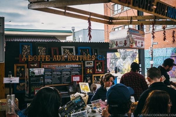 seafood vendor at Marche Jean-Talon - Montreal Travel Guide   www.justonecookbook.com