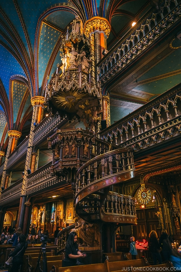 wooden staircase at Notre-Dame Basilica of Montreal - Montreal Travel Guide | www.justonecookbook.com