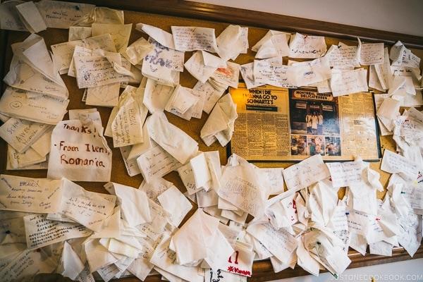 napkin board at Schwartz's Deli - Montreal Travel Guide   www.justonecookbook.com