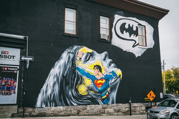 Super hero painted on a building wall - Montreal Travel Guide | www.justonecookbook.com