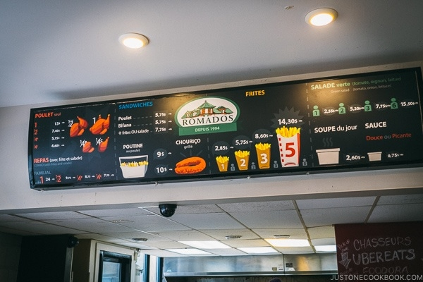 menu at Rotisserie Romados - Montreal Travel Guide   www.justonecookbook.com