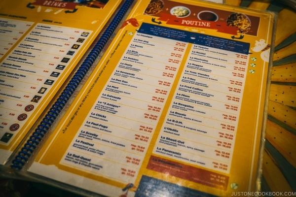 menu at La Banquise - Montreal Travel Guide   www.justonecookbook.com