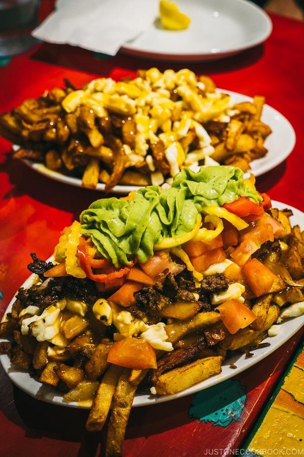 la raggae french fries at La Banquise - Montreal Travel Guide   www.justonecookbook.com